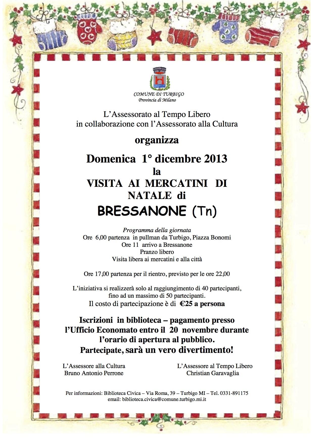 Mercatini di natale di bressanone pro loco turbigo for Dormire a bressanone